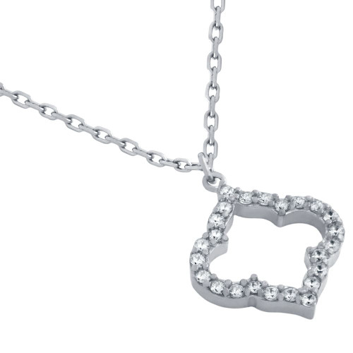 """RHODIUM PLATED CZ CUTOUT ROYAL CLOVER NECKLACE 16"""" + 2"""""""