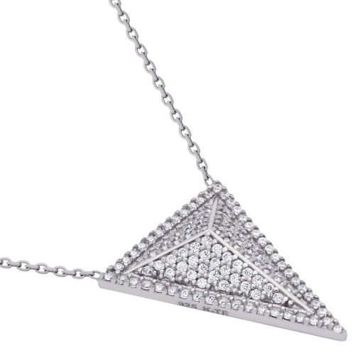 "RHODIUM PLATED TRIANGLE PYRAMID CZ MICRO PAVE NECKLACE 17"" + 2.5"""
