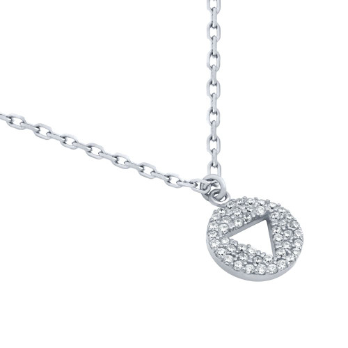 "RHODIUM PLATED CZ DISK NECKLACE WITH CUTOUT TRIANGLE 16"" + 2"""