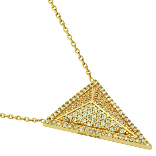 """GOLD PLATED TRIANGLE PYRAMID CZ MICRO PAVE NECKLACE 17"""" + 2.5"""""""