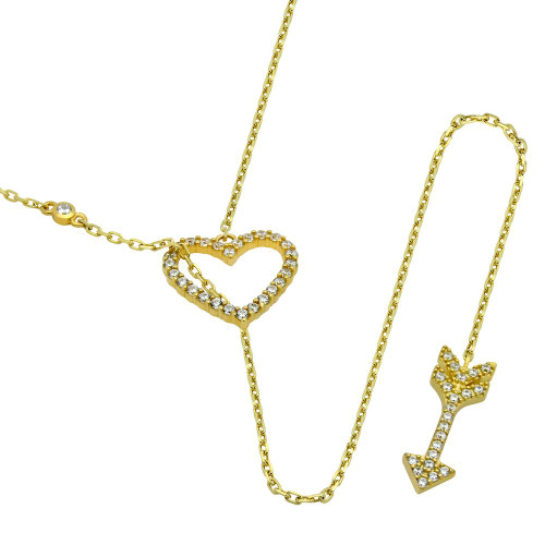 """GOLD PLATED CZ HEART AND ARROW LARIAT NECKLACE 22"""""""