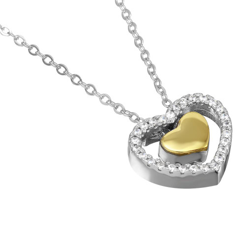 "RHODIUM AND GOLD PLATED 15MM FLOATING CZ HEARTS NECKLACE 16"" + 2"