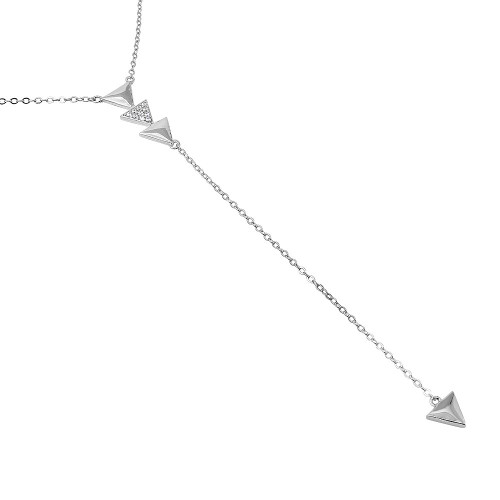 """RHODIUM PLATED CZ TRIANGLES """"Y"""" NECKLACE 16"""" + 2"""