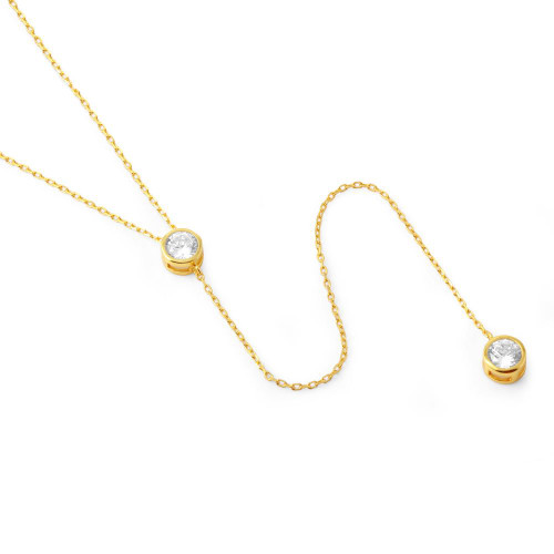 "GOLD PLATED CZ BEZEL DUO ""Y"" NECKLACE 16"" + 2"