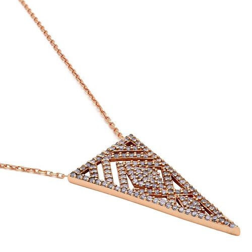 """ROSE GOLD PLATED CZ TRIANGLE FILIGREE NECKLACE 16.5"""" +2"""""""