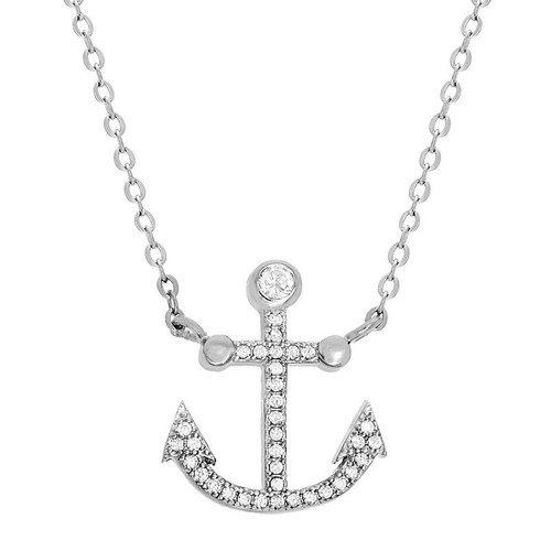 "RHODIUM PLATED CZ ANCHOR NECKLACE 16"" + 2"