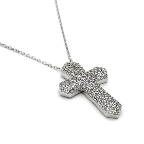 RHODIUM PLATED CZ MICRO PAVE CROSS NECKLACE 18+2""