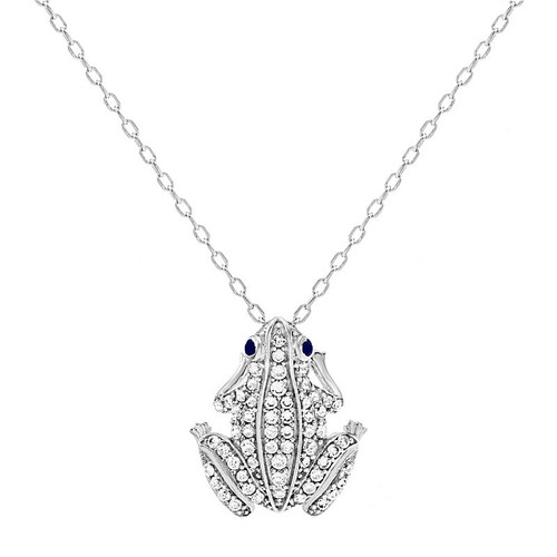 "RHODIUM PLATED CZ FROG NECKLACE 16"" + 2"