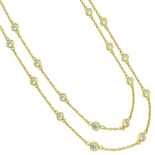 """GOLD PLATED 4MM BEZEL CZ BY THE YARD NECKLACE 60"""""""