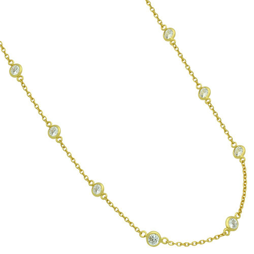 """GOLD PLATED 4MM BEZEL CZ BY THE YARD NECKLACE 18"""""""