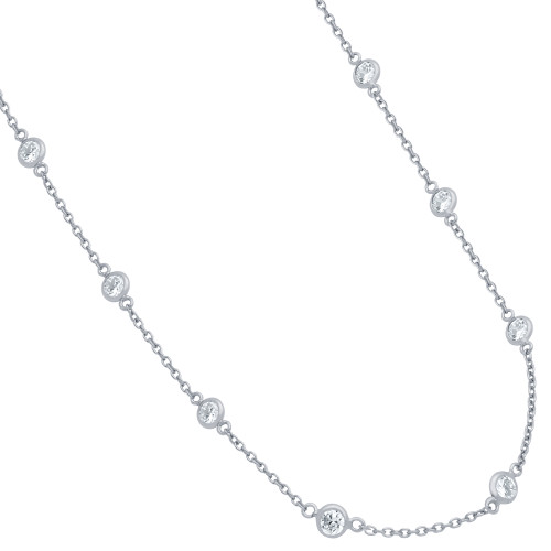 RHODIUM PLATED 4MM BEZEL CZ BY THE YARD NECKLACE 18""