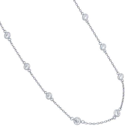 RHODIUM PLATED 4MM BEZEL CZ BY THE YARD NECKLACE 24""