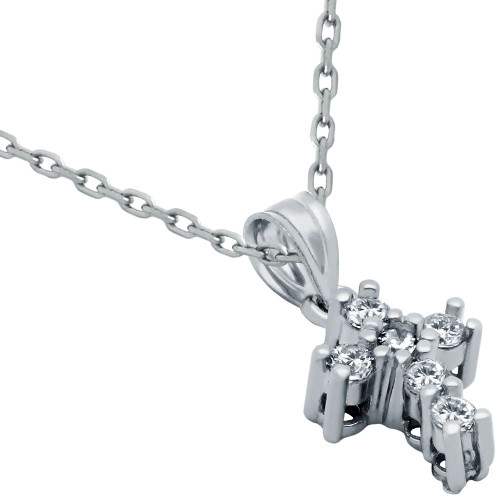 """SMALL CZ AND STERLING SILVER CROSS NECKLACE 16""""+1"""""""