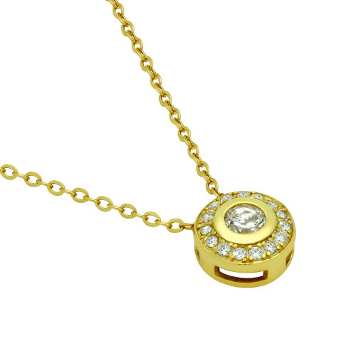 GOLD PLATED ELEGANT ROUND CZ NECKLACE 18""