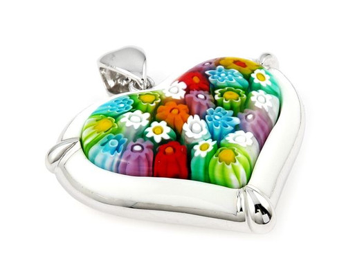 MILLACRELI MULTI COLOR AND WHITE HEART PENDANT