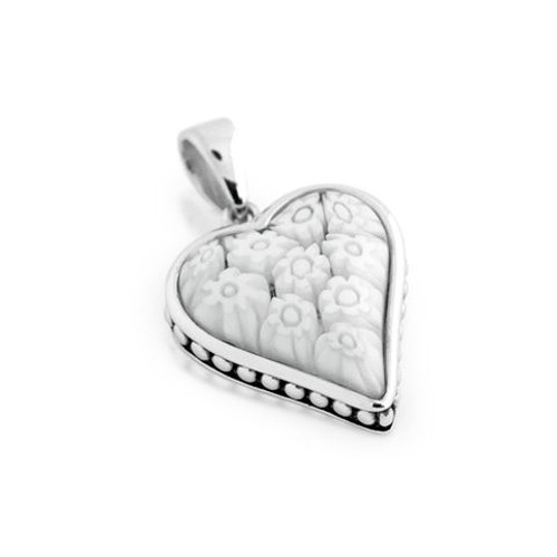 WHITE MURANO MILLEFIORI HEART SHAPE PENDANT WITH BEADED DESIGN
