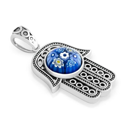 BLUE MURANO MILLEFIORI ROUND CENTER ON MILGRAIN HAMSA PENDANT