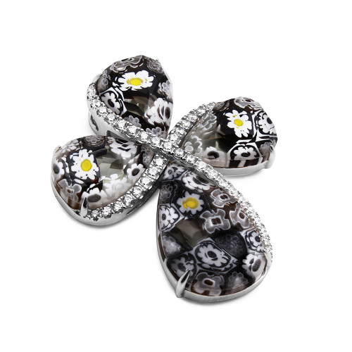 BLACK MURANO MILLEFIORI DROP SHAPED CZ PAVE CROSS