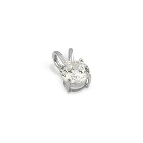 6MM RHODIUM PLATED ROUND BASKET CZ PENDANT