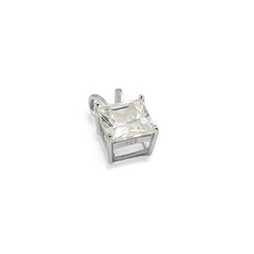 6X6MM RHODIUM PLATED SQUARE BASKET CZ PENDANT