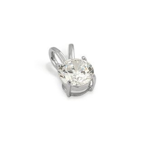 8MM RHODIUM PLATED ROUND BASKET CZ PENDANT