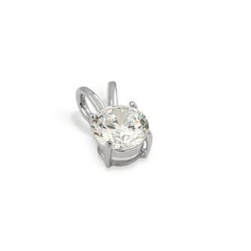 7MM RHODIUM PLATED ROUND BASKET CZ PENDANT