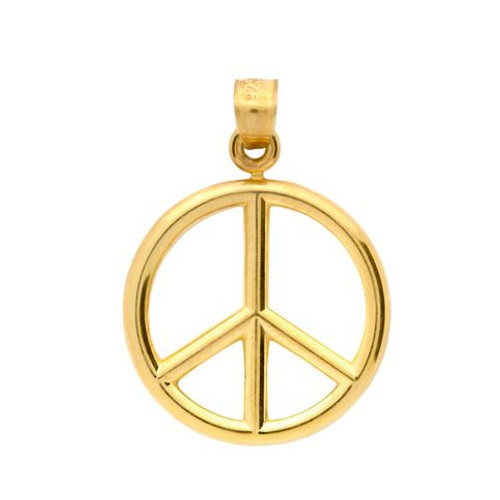 GOLD PLATED PEACE SIGN PENDANT