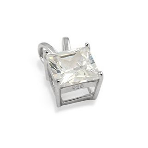 8X8MM RHODIUM PLATED SQUARE BASKET CZ PENDANT