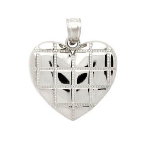 RHODIUM PLATED STERLING SILVER CROSSHATCH DESIGN HEART PENDANT