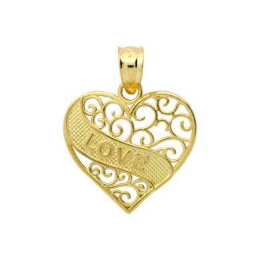 GOLD PLATED STERLING SILVER LOVE MESSAGE IN A HEART PENDANT
