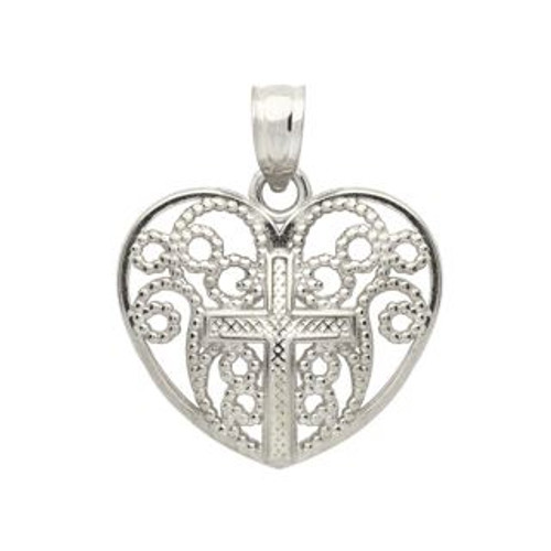 RHODIUM PLATED STERLING SILVER CROSS IN A HEART PENDANT