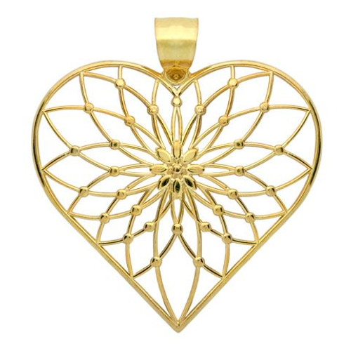 GOLD PLATED STERLING SILVER LARGE FLORAL DESIGN HEART PENDANT