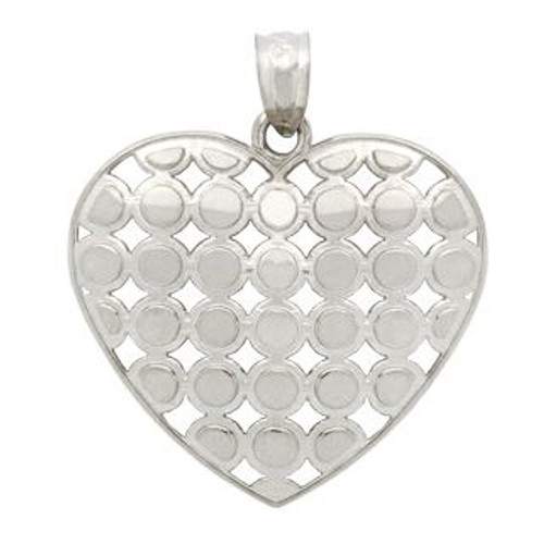 RHODIUM PLATED STERLING SILVER CUTOUT ROUND PATTERN DESIGN HEART PENDANT