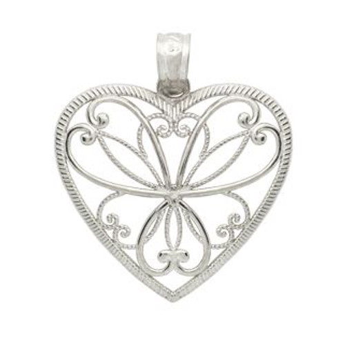 RHODIUM PLATED SMALL HEART BRANCHES HEART PENDANT