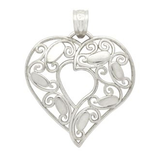 RHODIUM PLATED CURVED HEART PENDANT