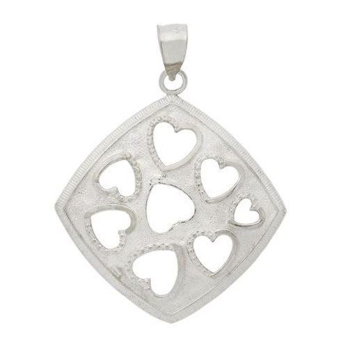RHODIUM PLATED CUTOUT HEARTS IN A SQUARE PENDANT