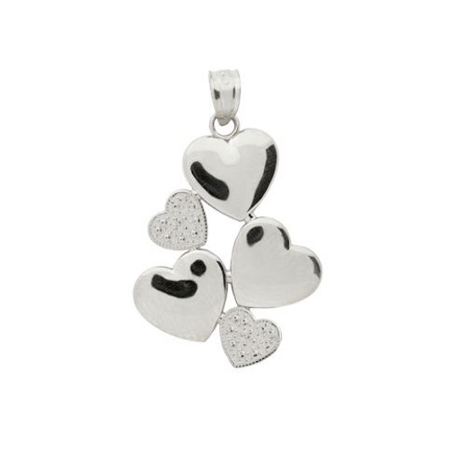 RHODIUM PLATED STERLING SILVER 5 HEART PENDANT