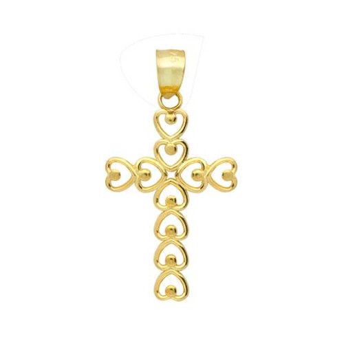 GOLD PLATED STERLING SILVER HEARTS SHAPED INTO A CROSS PENDANT