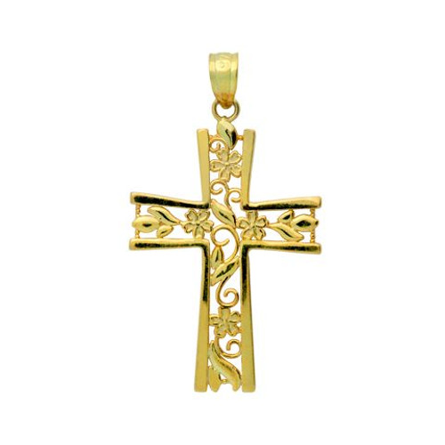 GOLD PLATED STERLING SILVER FLORAL CUTOUTS IN A CROSS PENDANT