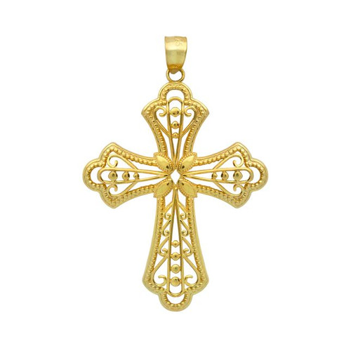 GOLD PLATED STERLING SILVER FLORAL DESIGN IN A CROSS PENDANT