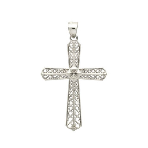 RHODIUM PLATED STERLING SILVER BEADED CUTOUT DESIGN CROSS PENDANT
