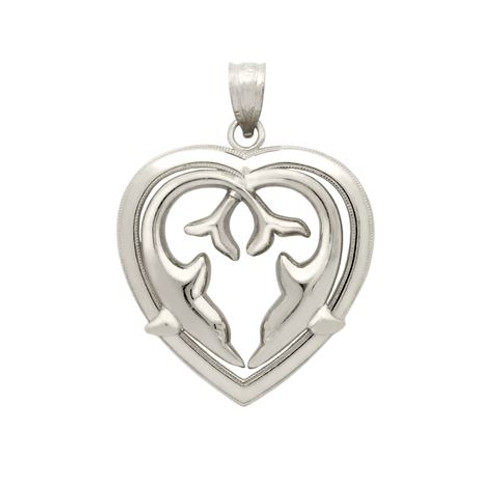 RHODIUM PLATED HEART OF DOLPHINS PENDANT