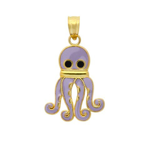GOLD PLATED ENAMELED OCTOPUS CHARM
