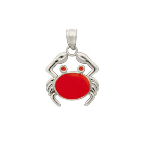 RHODIUM PLATED ENAMELED CRAB CHARM