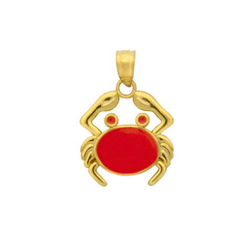 GOLD PLATED ENAMELED CRAB CHARM