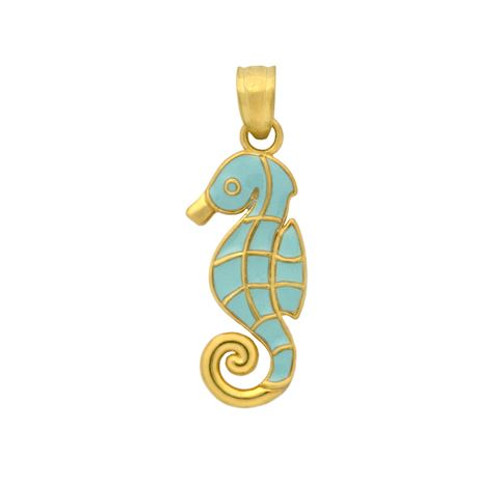 GOLD PLATED ENAMELED SEAHORSE CHARM