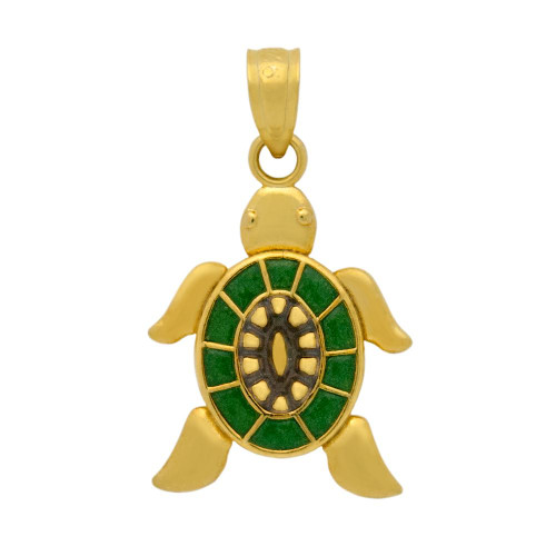 GOLD PLATED ENAMELED TURTLE CHARM