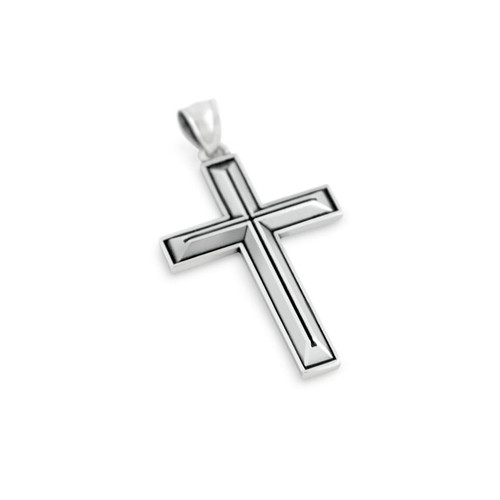 STERLING SILVER OUTLINED CROSS PENDANT