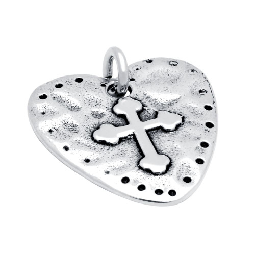 HEART AND CROSS SILVER PENDANT