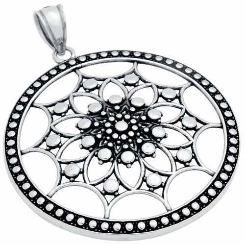 STERLING SILVER 35MM ROUND PENDANT WITH INTRICATE GEOMETRIC PATTERN
